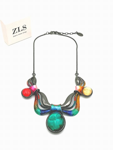 COLLIER COURBES MULTICOLORES STRASS