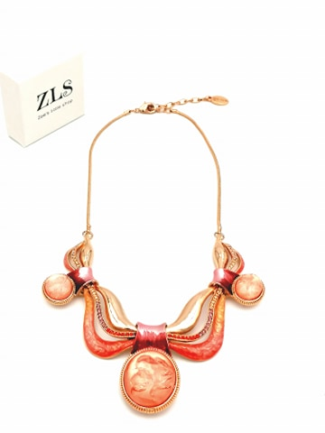 COLLIER COURBES ROSES DOREES